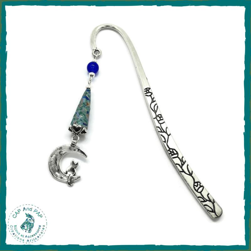 Marque-pages bijou Un chat sur la lune - Perle artisanale en papier bleues