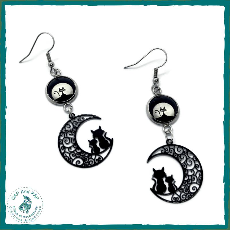 Boucles d'oreilles Chats sur la lune - Cabochon Chat noir
