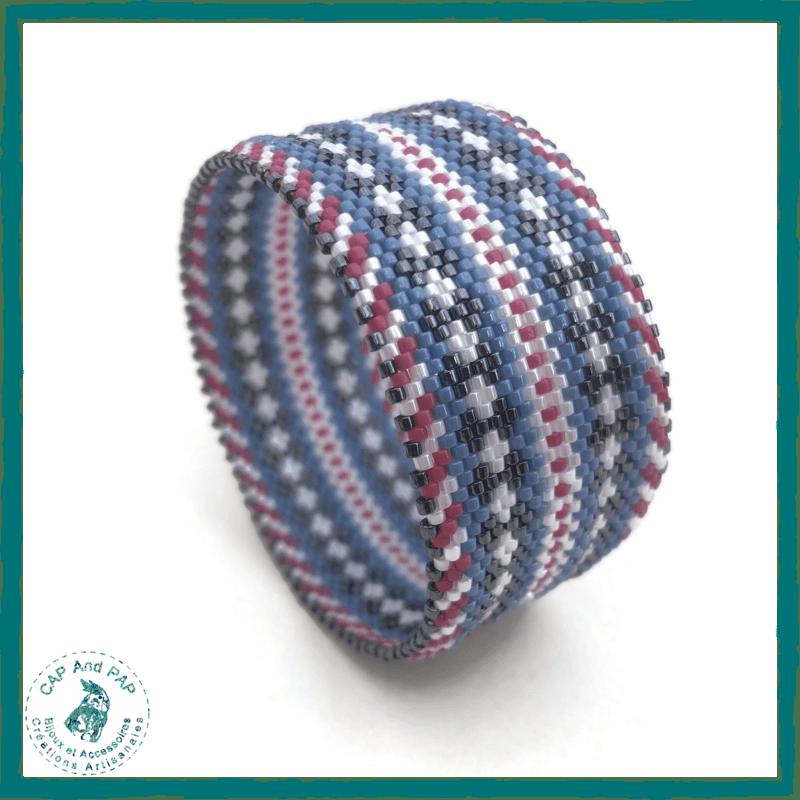 Large Bracelet Bangle Bleu et Rose - Perles tissées