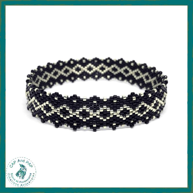 Bracelet Bangle Noir Argent Fin
