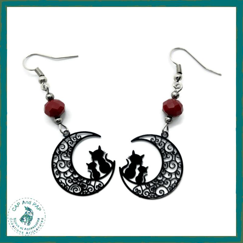 Boucles d'oreilles Chats sur la Lune - Perle rouge