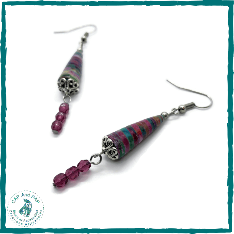Boucles d'oreilles colorées - Perles en papier artisanales