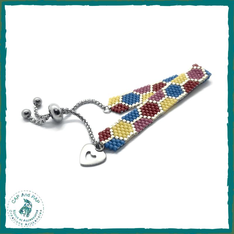 Bracelet multicolore en perles tissées - Réglable