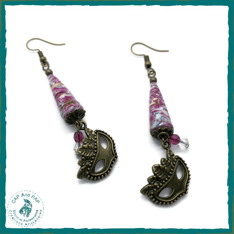 Boucles d'oreilles Carnaval de Venise - Perle en papier rose - Masque Vénitien