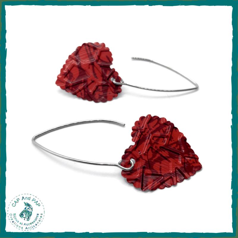 Boucles d'oreilles artisanales coeurs rouges - Capsules de café recyclées