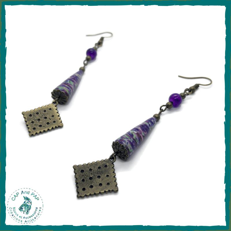 Boucles d'oreilles gourmandes Petit Brun - Perles en papier artisanales violettes