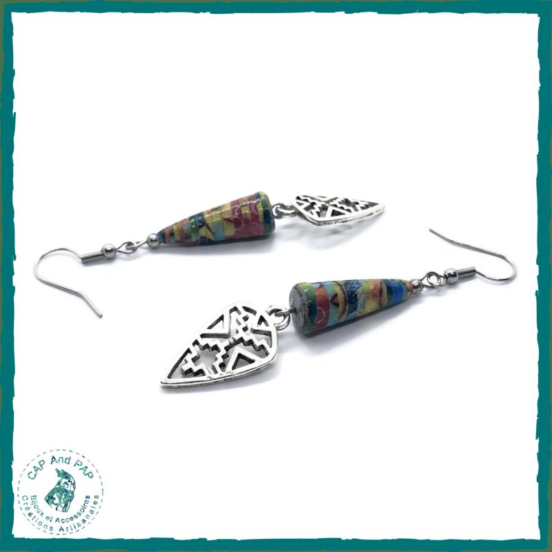 Boucles d'oreilles multicolores ethniques - Flèches - Perles en Papier