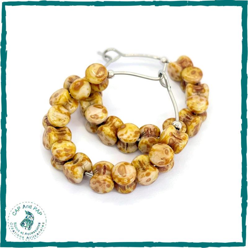 Boucles d'oreilles créoles jaunes - Perles en verre