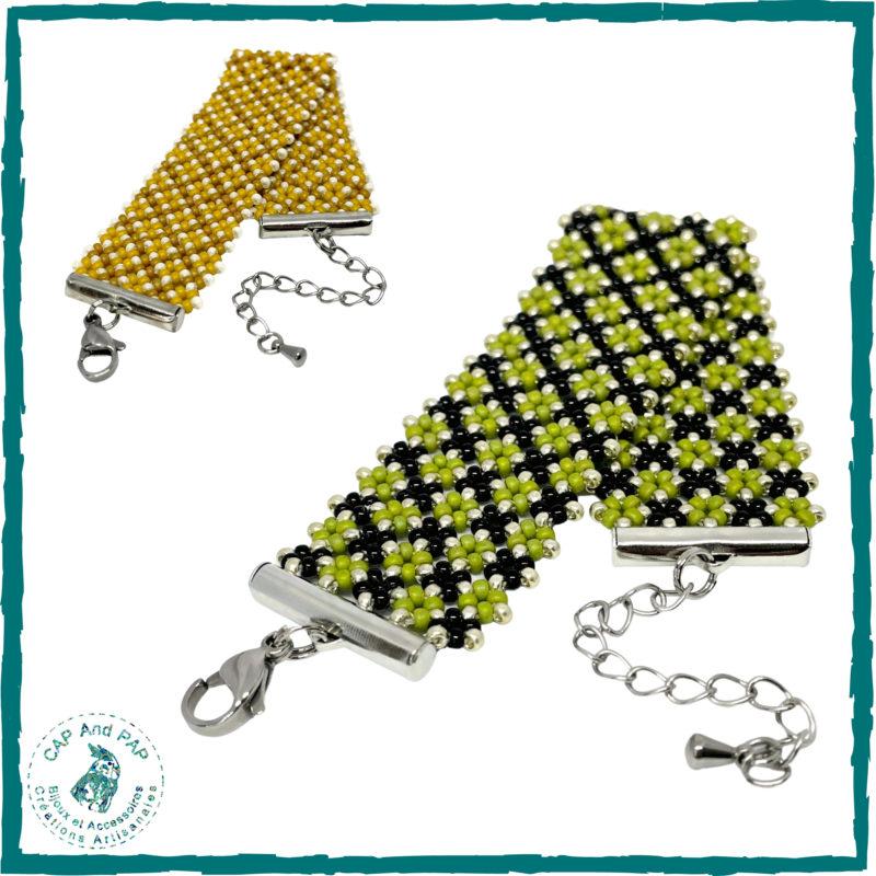Bracelet Manchette en perles en verre - Tissage africain